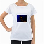 Orange Black Amoeba Fractal on Blue Maternity White T-Shirt