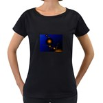 Orange Black Amoeba Fractal on Blue Maternity Black T-Shirt