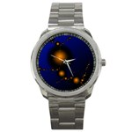 Orange Black Amoeba Fractal on Blue Sport Metal Watch