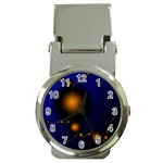 Orange Black Amoeba Fractal on Blue Money Clip Watch