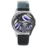 Black Lace Goth Punk Fractal Round Metal Watch