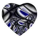 Black Lace Goth Punk Fractal Ornament (Heart)
