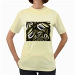 Black Lace Goth Punk Fractal Women s Yellow T-Shirt