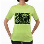 Black Lace Goth Punk Fractal Women s Green T-Shirt