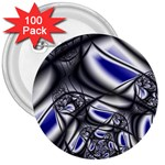 Black Lace Goth Punk Fractal 3  Button (100 pack)