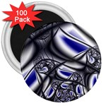 Black Lace Goth Punk Fractal 3  Magnet (100 pack)