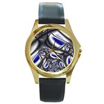 Black Lace Goth Punk Fractal Round Gold Metal Watch