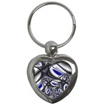 Black Lace Goth Punk Fractal Key Chain (Heart)