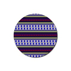 Colorful Retro Geometric Pattern Rubber Round Coaster (4 Pack)  by DanaeStudio