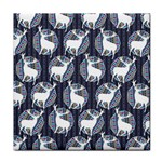 Geometric Deer Retro Pattern Tile Coasters Front
