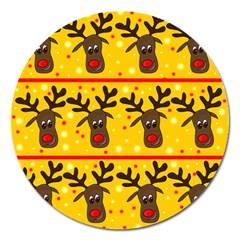 Christmas Reindeer Pattern Magnet 5  (round) by Valentinaart