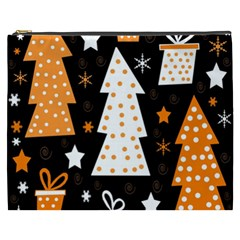 Orange Playful Xmas Cosmetic Bag (xxxl)  by Valentinaart