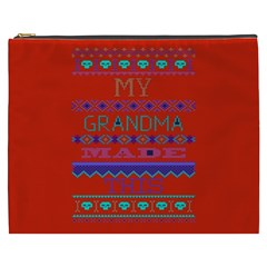 My Grandma Made This Ugly Holiday Red Background Cosmetic Bag (xxxl)  by Onesevenart