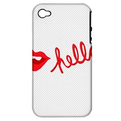 Hello Lip Red Sexy Apple Iphone 4/4s Hardshell Case (pc+silicone)