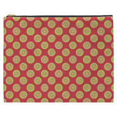 Mod Yellow Circles On Orange Cosmetic Bag (xxxl)  by BrightVibesDesign