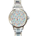 Blue Colorful Cats Silhouettes Pattern Round Italian Charm Watch