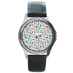 Blue Colorful Cats Silhouettes Pattern Round Metal Watch