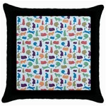 Blue Colorful Cats Silhouettes Pattern Throw Pillow Case (Black)