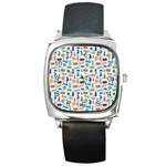 Blue Colorful Cats Silhouettes Pattern Square Metal Watch