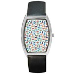 Blue Colorful Cats Silhouettes Pattern Barrel Style Metal Watch