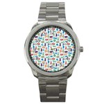 Blue Colorful Cats Silhouettes Pattern Sport Metal Watch