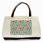 Blue Colorful Cats Silhouettes Pattern Basic Tote Bag