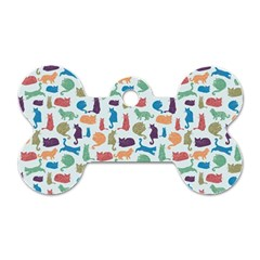 Blue Colorful Cats Silhouettes Pattern Dog Tag Bone (one Side) by Contest580383