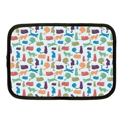 Blue Colorful Cats Silhouettes Pattern Netbook Case (medium)