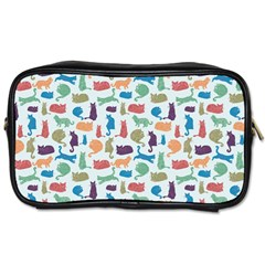 Blue Colorful Cats Silhouettes Pattern Toiletries Bags 2 Side