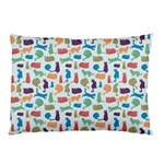 Blue Colorful Cats Silhouettes Pattern Pillow Case (Two Sides)