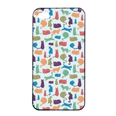 Blue Colorful Cats Silhouettes Pattern Apple Iphone 4/4s Seamless Case (black)