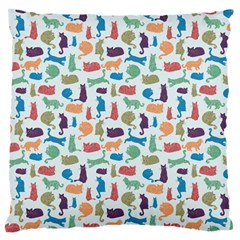 Blue Colorful Cats Silhouettes Pattern Large Cushion Case (one Side)