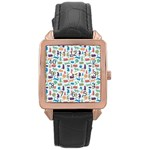 Blue Colorful Cats Silhouettes Pattern Rose Gold Leather Watch