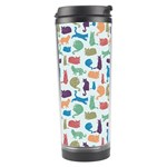 Blue Colorful Cats Silhouettes Pattern Travel Tumbler