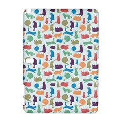 Blue Colorful Cats Silhouettes Pattern Samsung Galaxy Note 10 1 (p600) Hardshell Case by Contest580383