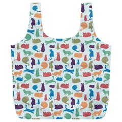 Blue Colorful Cats Silhouettes Pattern Full Print Recycle Bags (l)  by Contest580383