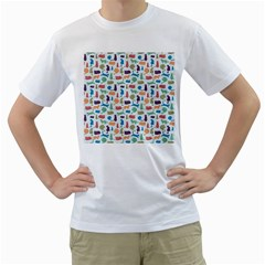 Blue Colorful Cats Silhouettes Pattern Men s T Shirt (white)  by Contest580383