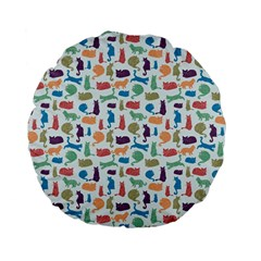 Blue Colorful Cats Silhouettes Pattern Standard 15  Premium Flano Round Cushions