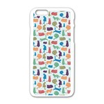 Blue Colorful Cats Silhouettes Pattern Apple iPhone 6/6S White Enamel Case