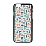 Blue Colorful Cats Silhouettes Pattern Apple iPhone 6/6S Black Enamel Case