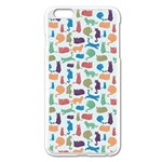 Blue Colorful Cats Silhouettes Pattern Apple iPhone 6 Plus/6S Plus Enamel White Case