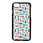 Blue Colorful Cats Silhouettes Pattern Apple iPhone 7 Seamless Case (Black)