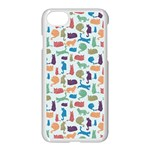 Blue Colorful Cats Silhouettes Pattern Apple iPhone 7 Seamless Case (White)