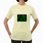 Green Fantasy Fish World Fractal Women s Yellow T-Shirt