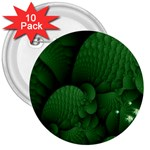 Green Fantasy Fish World Fractal 3  Button (10 pack)