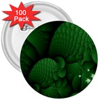 Green Fantasy Fish World Fractal 3  Button (100 pack)