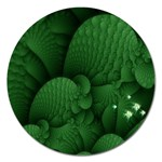 Green Fantasy Fish World Fractal Magnet 5  (Round)