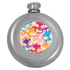 Colorful Pansies Field Round Hip Flask (5 Oz)
