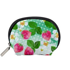 Cute Strawberries Pattern Accessory Pouches (small)
