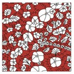 Cvdr0098 Red White Black Flowers Large Satin Scarf (Square)